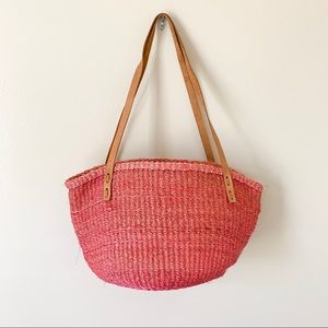 Vintage Pink Boho Basket Weaved Purse